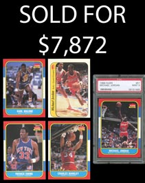 1986-87 Fleer Basketball Complete Set of (132) Cards with PSA 9 Jordan Rookie
