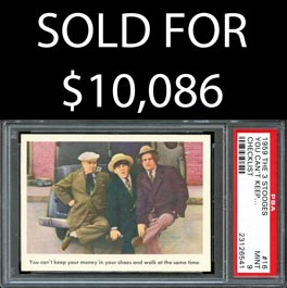 "1959 Fleer Three Stooges #16 ""You Can't Keep…"" Shortprint Checklist – PSA Mint 9"