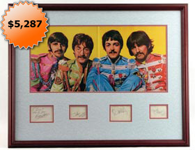 The Beatles Signed Autographed Sgt. Pepper's Display With (4) Cut Signatures