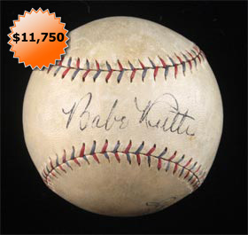 Babe Ruth Signed Autographed Baseball American League Barnard Ball