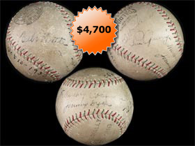 1930 Autographed Signed Baseball With Babe Ruth, Lou Gehrig, Mickey Cochrane