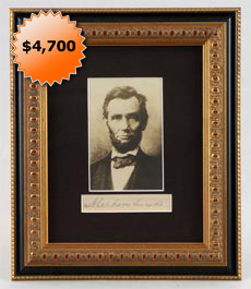 Beautiful Abraham Lincoln Framed Full Name Cut Signature