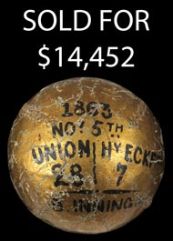 Novermber 5, 1863 Union vs. Eckford Trophy Baseball