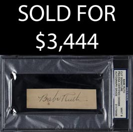 Babe Ruth Cut Signature - PSA/DNA MINT 9