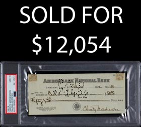 Christy Mathewson Signed 1922 Check - PSA/DNA 9