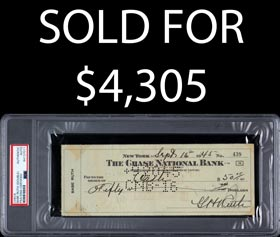 Babe Ruth Dual Signed 1945 Check - PSA/DNA