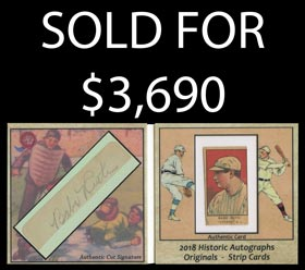 2018 Historic Autographs Originals Babe Ruth Strip Card & Autograph