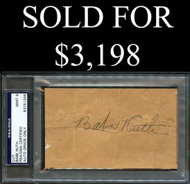 Babe Ruth Autograph - PSA/DNA MINT 9