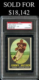 C1958 Topps Footall Unopened Cello Pack with Jim Brown Rookie (Top) PSA NM 7 - None Better!