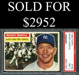 1956 Topps Baseball #135 Mickey Mantle (Gray Back) - PSA NM 7