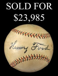 Henry Ford Single-Signed Baseball - Full JSA
