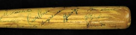 1939 Yankees Signed Mini-Bat with Lou Gehrig & Joe DiMaggio - Full JSA
