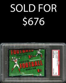1956 Topps Football Unopened One-Cent Wax Pack - PSA NM 7