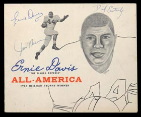 1962 Ernie Davis, Jim Brown and Dick Easterly Signed