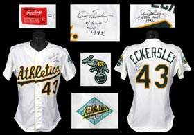 Dennis Eckersley 1992 Oakland Athletics Signed Game-Worn Home Jersey From Cy Young/MVP Season - Full Mile High and JSA