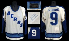 Rare Photo-Matched 1973 Gordie Howe Signed Promo-Worn WHA Houston Aeros Jersey - Also Game-Worn by Aeros Player Ed Hoekstra