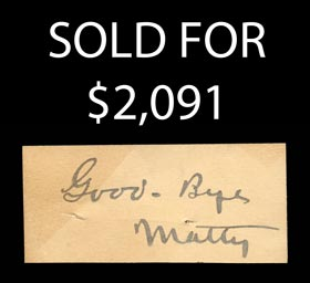 Christy Mathewson Souvenir Lot with Cut Signature - Full JSA