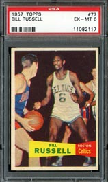 1957 Topps Basketball #77 Bill Russell Rookie Card - PSA EX-MT 6
