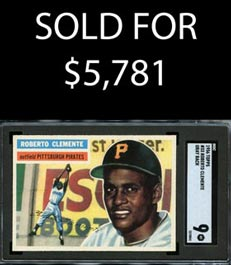 1956 Topps Baseball #33 Roberto Clemente (Gray Back) SGC 9 Mint - None Better