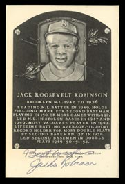 Outstanding Jackie Robinson Signed Black and White HOF Plaque Postcard - JSA Full LOA