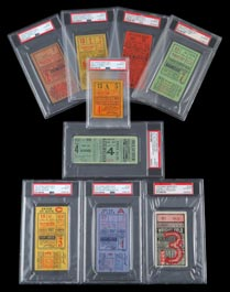 1921-1932 Babe Ruth World Series Home Run Game Ticket Stub Complete Run of (9)