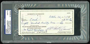 Roberto Clemente 1972 Signed Check PSA 9