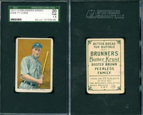 1911-14 D304 Brunners Bread Ty Cobb Baseball Card SGC 20