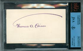 Thomas Edison Signed Autographed Business Card Graded Perfect 10 by BVG/JSA
