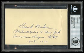 Frank Baker Inscribed Signed GPC - Beckett Authentic