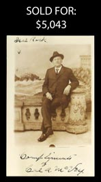 Ultra-Rare Cal A. McVey 1923 Signed Photo Postcard from John Heydler Family Archive - Full JSA