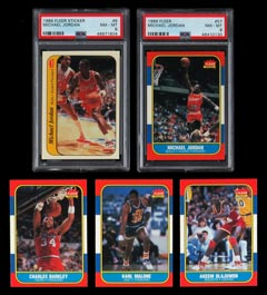 1986-87 Fleer  Complete Set (132/132) Plus 11-Sticker Set with PSA NM-MT 8 Jordan RC Pair