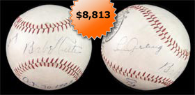 Babe Ruth and Lou Gehrig 1928 Dual Signed Autographed Baseball