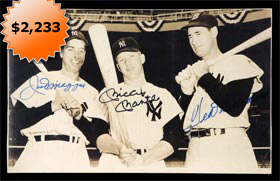 Original 1951 Photograph autographed Signed by Joe DiMaggio, Mickey Mantle and Ted Williams