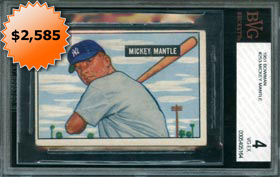 1951 Bowman #253 Mickey Mantle Rookie Baseball Card BVG 4 VG-EX