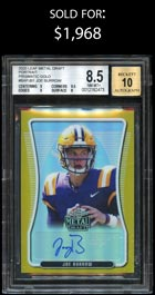 2020 Leaf Metal Draft Prismatic Gold Joe Burrow RC Auto #1/1 – BGS 8.5/Auto 10