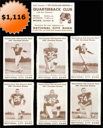 1961 National City Bank Cleveland Browns Football Card Complete Set of (36)