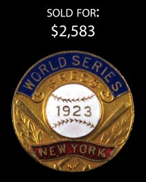 1923 New York Yankees World Series Press Pin