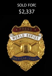 1927 New York Yankees World Series Press Pin=
