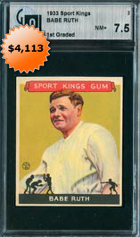 1933 Goudey Sport Kings #2 Babe Ruth Baseball Card GAI 7.5 Near Mint+