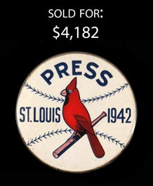 Superb 1942 St. Louis Cardinals Press Brooch