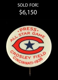 Rare 1938 Cincinnati All-Star Game Inaugural Press Pin - A Striking Beauty!