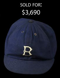 1908-09 Brooklyn Superbas (Dodgers) Game-Used Cap from Nap Rucker Estate