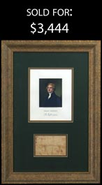 Thomas Jefferson Free Frank Signature & Portrait Engraving in Professional Display - Full JSA