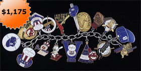 1952-1957 World Series and All-Star Game Baseball Press Pin Bracelet One of a kind
