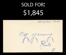 Exceptional Cy Young Signed Index Card - Full JSA LOA