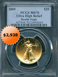 2009 PCGS MS70 Ultra High Relief $20 dollar Gold Double Eagle Coin Bullion