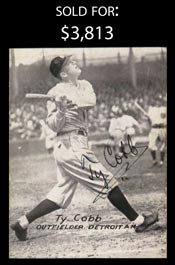 Ty Cobb Boldly Signed 1926 Partial Exhibit Card - Full JSA LOA