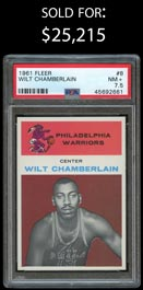 1961-62 Fleer Basketball #8 Wilt Chamberlain Rookie - PSA NM+ 7.5