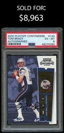 2000 Playoff Contenders Football #144 Tom Brady Rookie Certified Autograph - PSA EX-MT 6