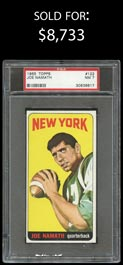 1965 Topps Football #122 Joe Namath Rookie Shortprint - PSA NM 7